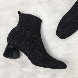 Zara Black Metallic Knit Sock Ankle Booties Shoes